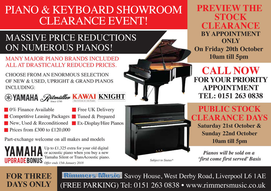 Rimmers Music Piano Sale at Liverpool in October 2017