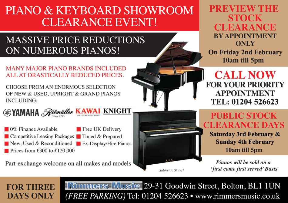 Piano Sale Weekend at Rimmers Music Bolton
