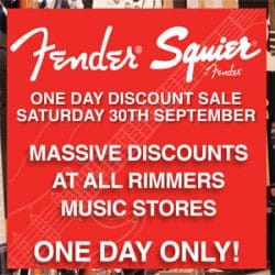 Fender and Squier discount day at Rimmers Music