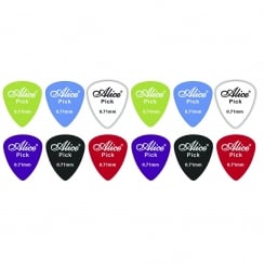 Johnny Brook 12 Assorted Matte Colour Nylon Guitar Picks (Thickness (mm) 0.71)