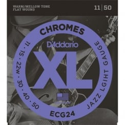 D'Addario 2 Sets ECG24 Chromes Flat Wound Electric Guitar Strings, Jazz Light, 11-50 | Clearance