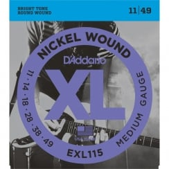 D'Addario 2 Sets EXL115 Nickel Wound Electric Guitar Strings Medium/Blues Rock 11-49 | Clearance