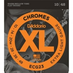 D'Addario 3 Sets Chromes Flat Wound Electric Guitar Strings, Extra Light, 10-48 | Clearance