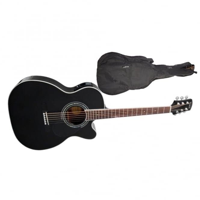 Adam Black | O-5CE Folk/Orchestral Electro Cutaway Acoustic Guitar | Black | Free Gig Bag