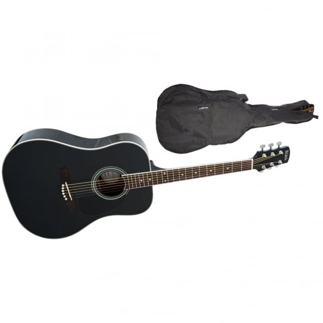 Adam Black | S-2 Folk/Orchestral Acoustic Guitar | Black | Free Gig Bag