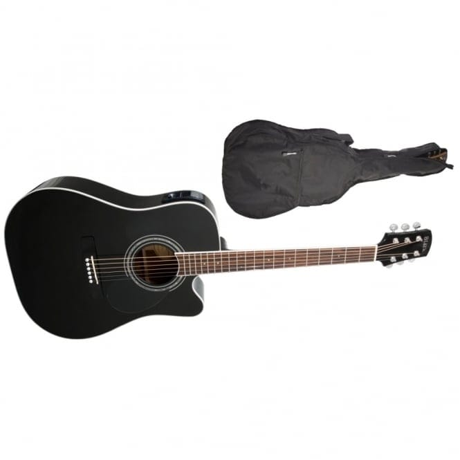 Adam Black | S-5CE Folk/Orchestral Electro Cutaway Acoustic Guitar | Black| Free Gig Bag