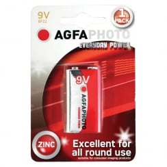 AGFA PHOTO Zinc Chloride Battery (Type PP3 Quantity 1)
