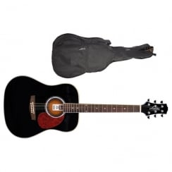 Ashton D24 BK Dreadnought Acoustic Guitar | Black