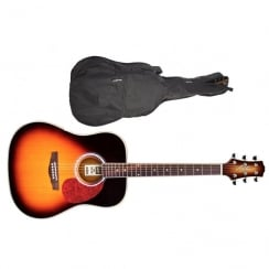Ashton D24 Dreadnought Acoustic Guitar | Tobacco Sunburst