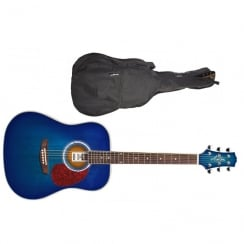 Ashton D24 Dreadnought Acoustic Guitar | Transparent Blue Burst