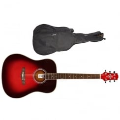 Ashton D24 Dreadnought Acoustic Guitar | Transparent Red