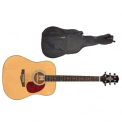 Ashton D24 NTM Dreadnought Acoustic Guitar | Natural Wood (Matte Finish)