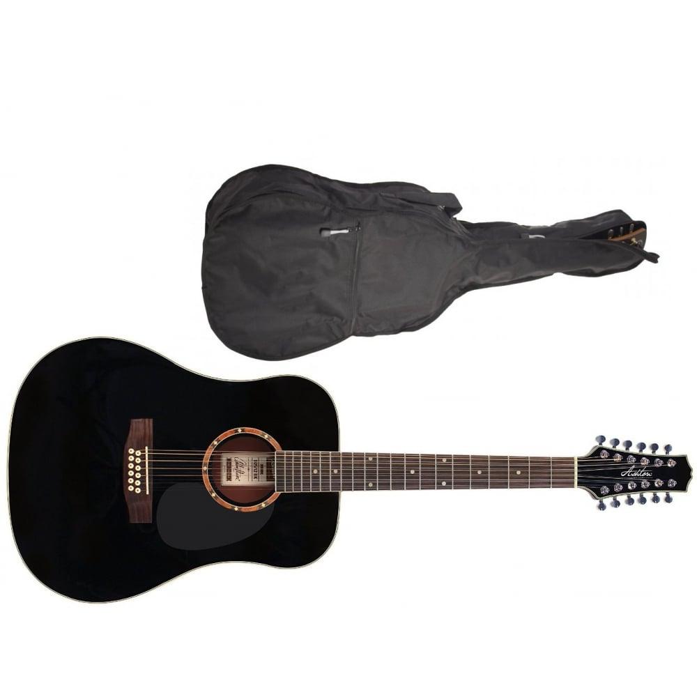 ashton d25 12 12 string acoustic guitar black rimmers music. Black Bedroom Furniture Sets. Home Design Ideas