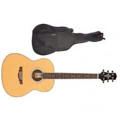 Ashton OM24 OM-Shaped Acoustic Guitar | Natural Wood (Gloss Finish)