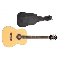 Ashton OM24 OM-Shaped Acoustic Guitar | Natural Wood (Matte Finish)