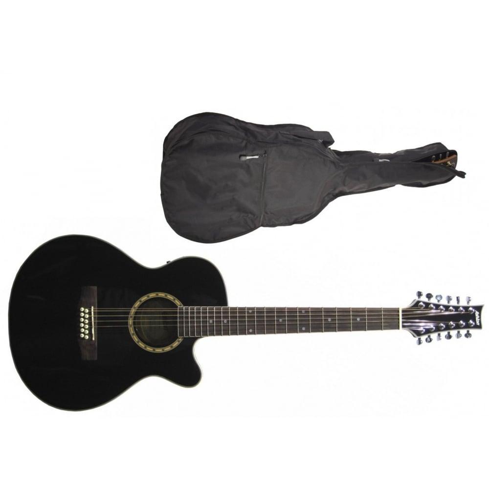ashton sl29 12ceq bk 12 string electro acoustic guitar black. Black Bedroom Furniture Sets. Home Design Ideas