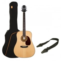 Ashton SPD25 Acoustic Guitar Pack |Natural Wood (Matte Finish)