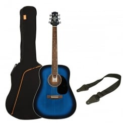 Ashton SPD25 Acoustic Guitar Pack | Transparent Blue Burst