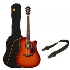 Ashton SPD25CEQ Electro Acoustic Guitar Pack | Cherry Sunburst
