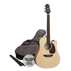 Ashton SPD25CEQ Electro Acoustic Guitar Pack | Natural Wood (Matte Finish)