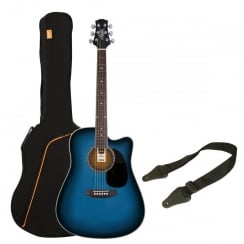 Ashton SPD25CEQ Electro Acoustic Guitar Pack | Transparent Blue Burst
