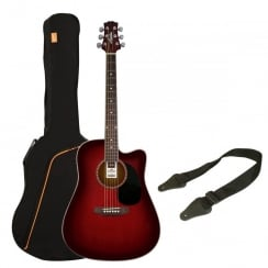 Ashton SPD25CEQ Electro Acoustic Guitar Pack | Wine Red Sunburst