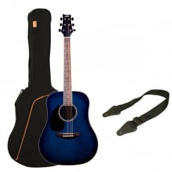 Ashton SPD25L TBB Acoustic Guitar Pack | Transparent Blue Burst