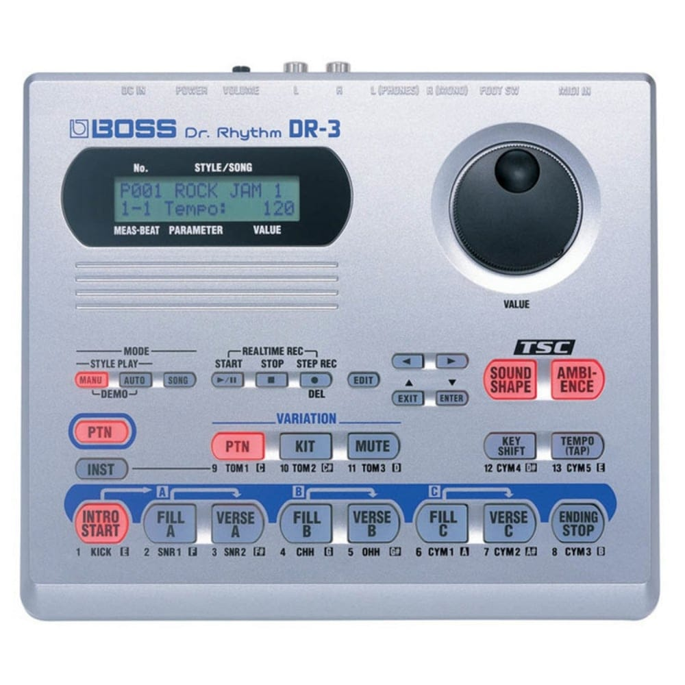 boss dr3 drum machine from rimmers music. Black Bedroom Furniture Sets. Home Design Ideas