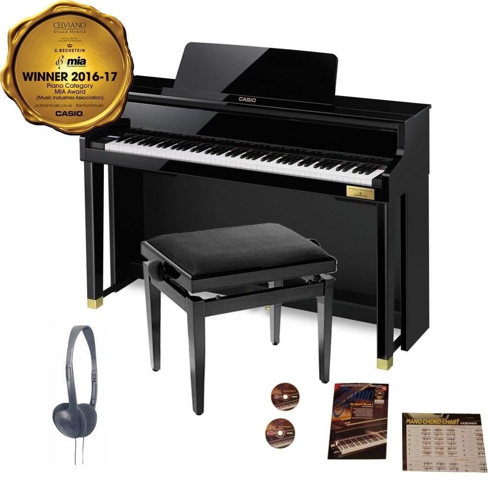 casio celviano gp 500 grand hybrid digital piano package polished ebony. Black Bedroom Furniture Sets. Home Design Ideas