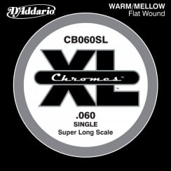D'Addario CB060SL Chromes Bass Guitar Single String, Super Long Scale .060