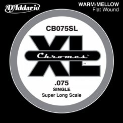 D'Addario CB075SL Chromes Bass Guitar Single String, Super Long Scale .075