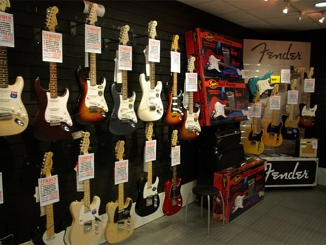 Image showing some of the range of guitars at our Rimmers Music Bolton Store