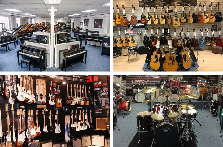 Different departments from Rimmers Music stores, including electric guitars, acoustic guitars, pianos and drum kits