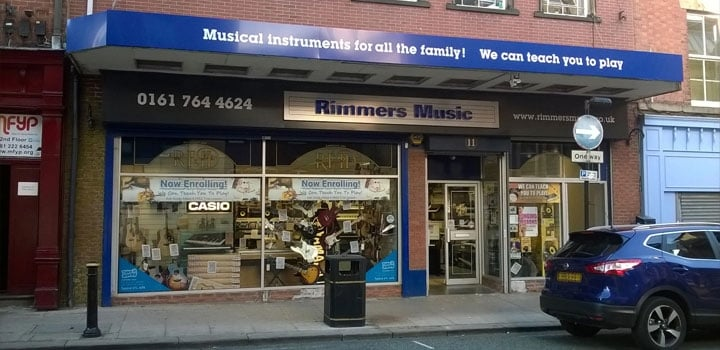 Store front of Rimmers Music Bury