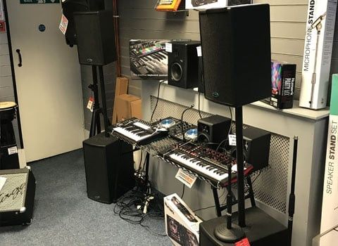 Some of the PA and DJ products at Rimmers Music Bury