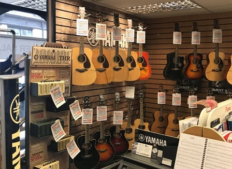 Yamaha acoustic gutiars and gutiar amplifiers at Rimmers Music Bury