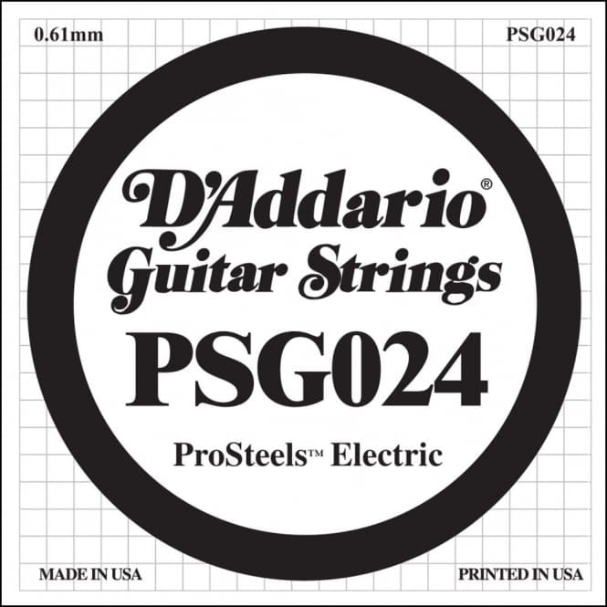 D'Addario PSG024 ProSteels Electric Guitar Single String, .024