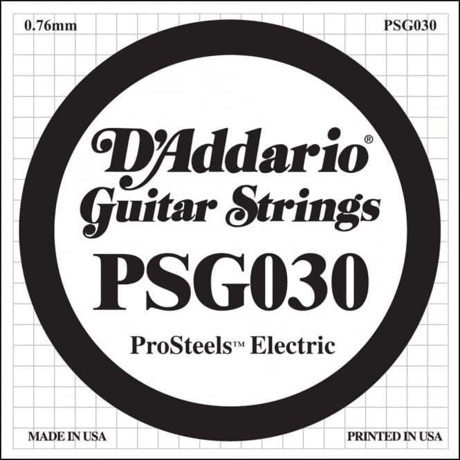 D'Addario PSG030 ProSteels Electric Guitar Single String, .030