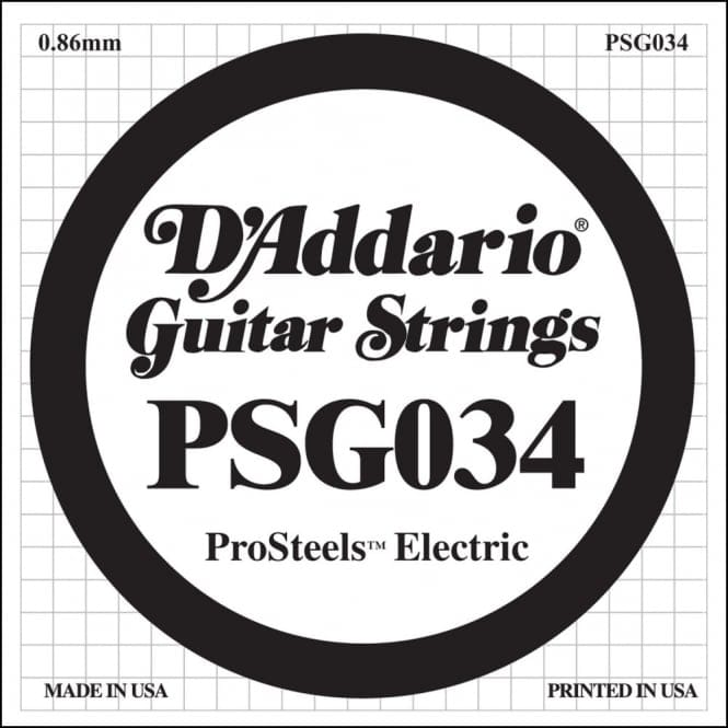 D'Addario PSG034 ProSteels Electric Guitar Single String, .034