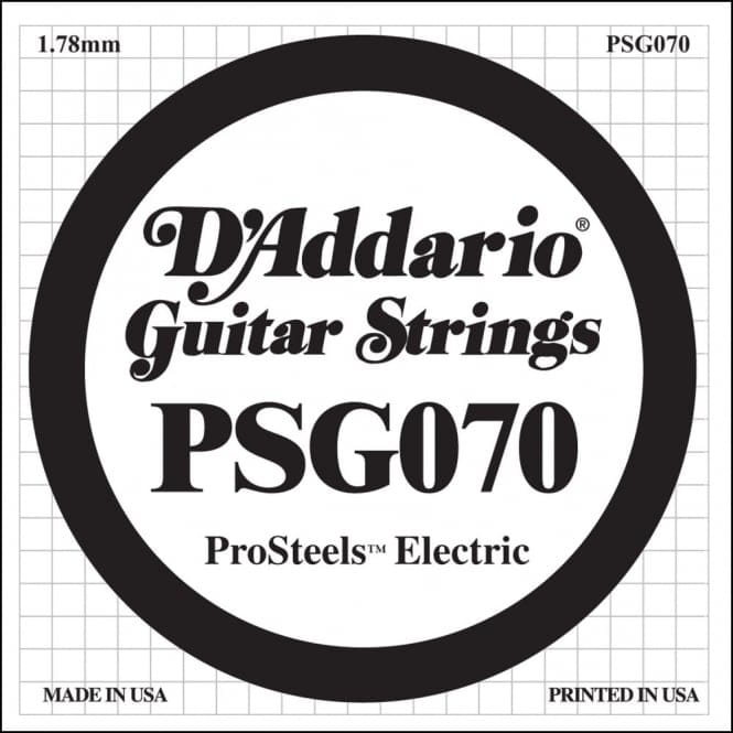 D'Addario PSG070 ProSteels Electric Guitar Single String, .070