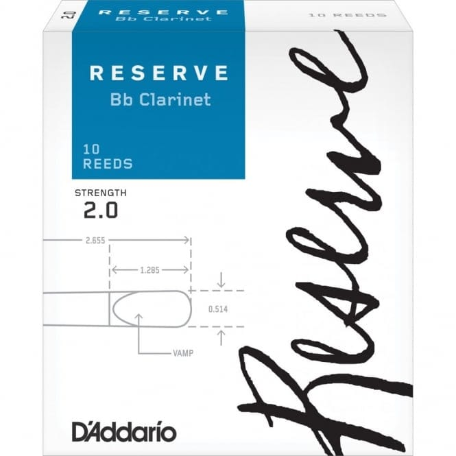 D'Addario Reserve Bb Clarinet Reeds, Strength 2.0, 10-pack