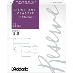 Rico D'Addario Reserve Classic Bb Clarinet Reeds, Strength 2.0, 10-pack