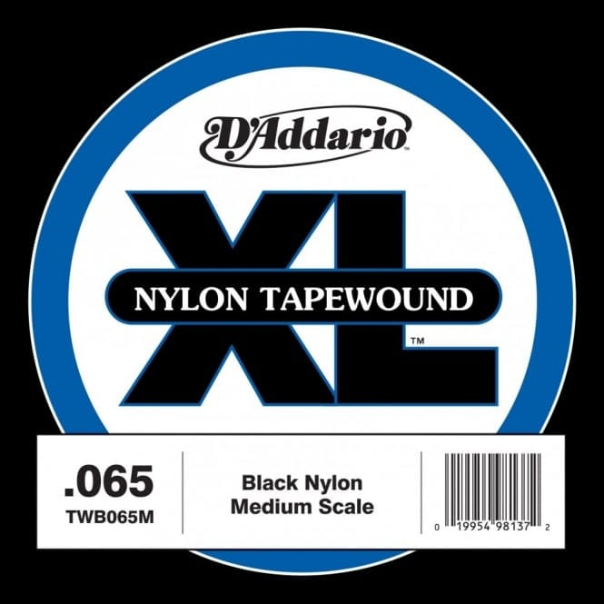 D'Addario TWB050S Nylon Tape Wound Bass Guitar Single String, .050