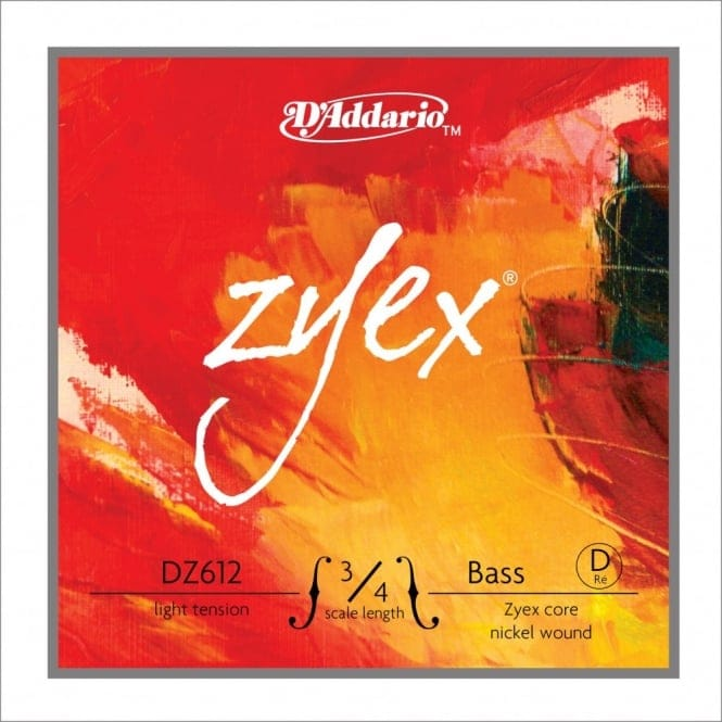 D'Addario Zyex Bass Single D String, 3/4 Scale, Light Tension