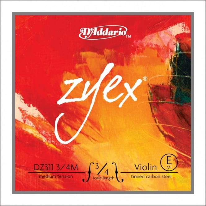 D'Addario Zyex Violin Single E String, 3/4 Scale, Medium Tension