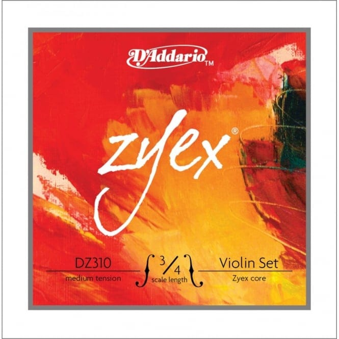 D'Addario Zyex Violin String Set, 3/4 Scale, Medium Tension