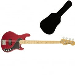 Squier Deluxe Dimension Bass IV, Maple Fingerboard, Crimson Red Transparent | Includes Gigbag