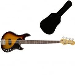 Squier Deluxe Dimension Bass IV, Rosewood Fingerboard, 3-Color Sunburst | Includes Gigbag