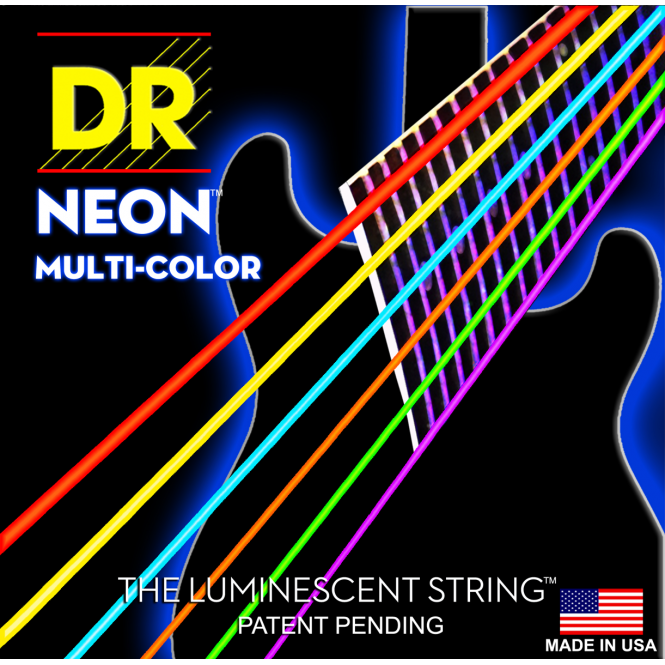 DR Strings Hi-Def Neon Red Electric Light
