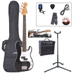 ENCORE EBP-E20BLK 7/8 Bass Guitar Outfit | Gloss Black